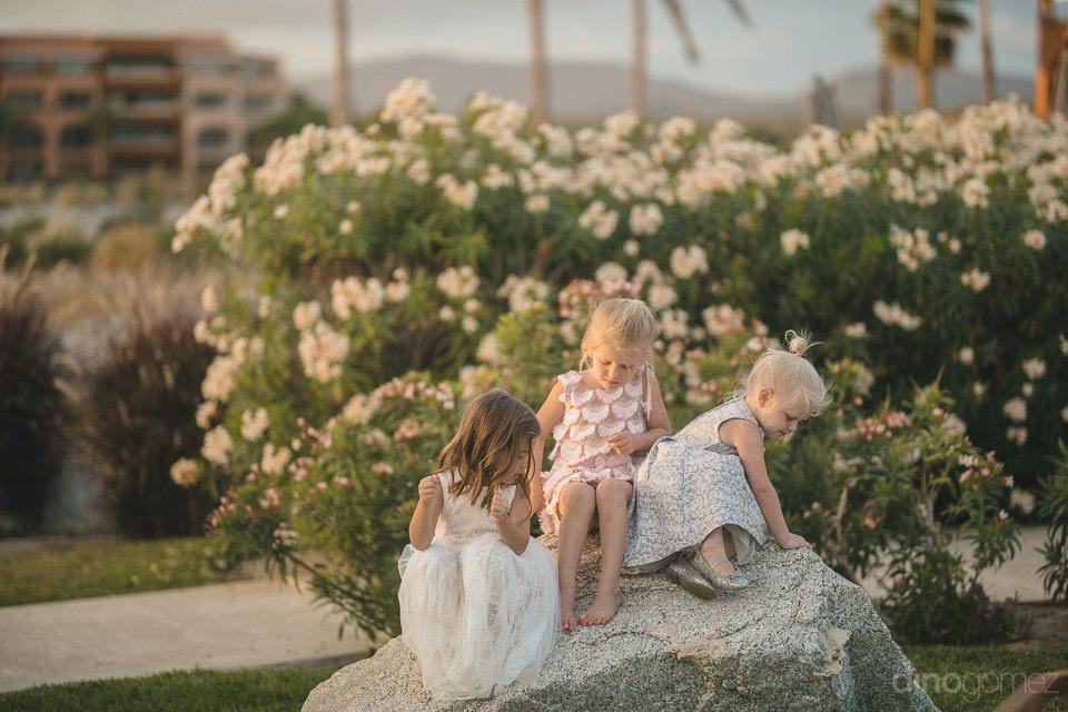 little girls playing on a rock - Chiara & Jeremee