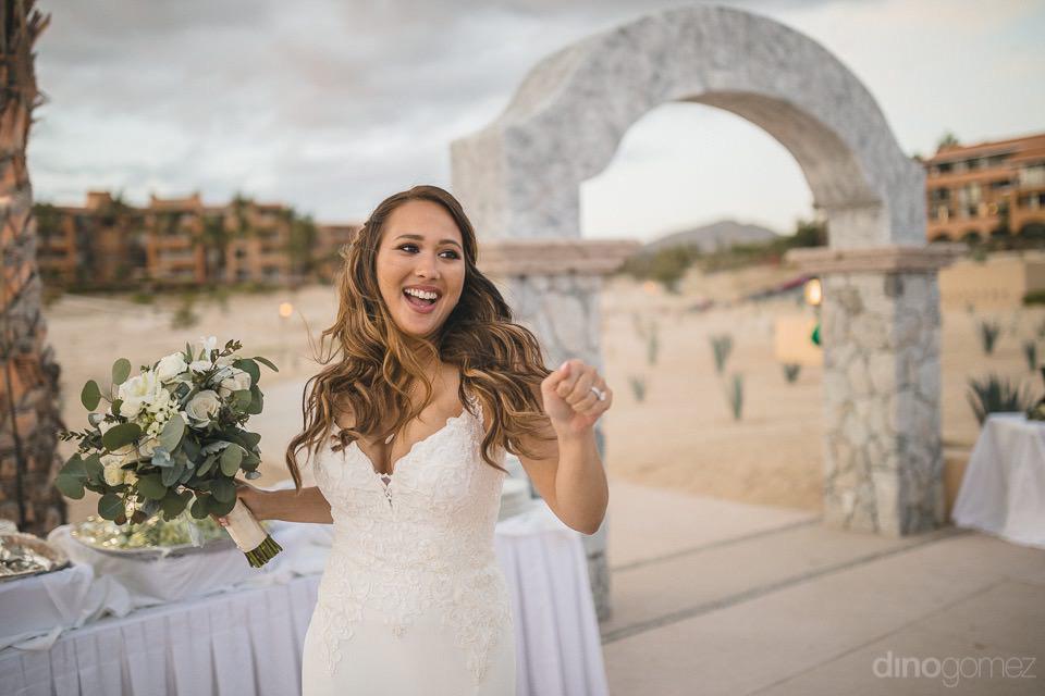 bride dancing entering the reception - Chiara & Jeremee